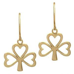 10K Gold Shamrock Drop Earrings