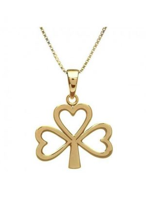 10K Yellow Gold Shamrock Pendant