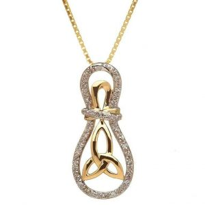 Gold 10K Trinity Knot Diamond Set Pendant
