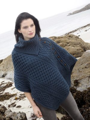Navy Merino Wool Cowl Neck Poncho