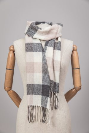 Foxford Neutral Block Check Scarf