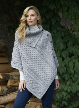 Grey Merino Wool Cowl Neck Poncho