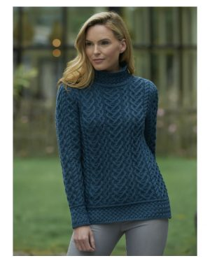 Luxurious High Neck Cable Knit Sweater