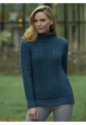 High Neck Teal Cable Knit Aran Sweater