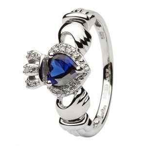 Ladies White Gold Claddagh Ring With Sapphire & Diamond