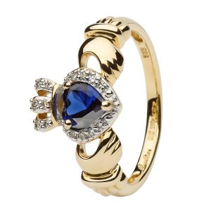 Ladies Gold Claddagh Ring With Sapphire & Diamond