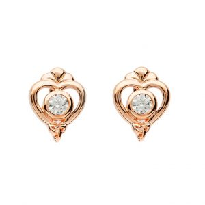 Rose Heart Trinity Stud Earrings