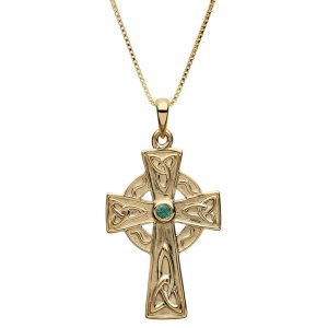 10K Gold Emerald Gold Cross
