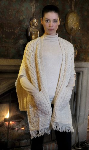 Irish Cable Aran Pattern Pocket Shawl