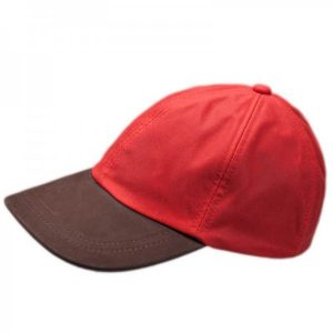 Red Wax Leather Peak Baseball Cap