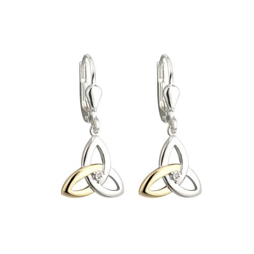 Solvar 10k Gold & Silver Diamond Drop Trinity Earrings