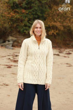 Natural Aran Merino Wool Cardigan b926 162