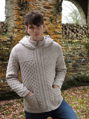 Men's Hooded Aran Full Zip Oatmeal Sweater