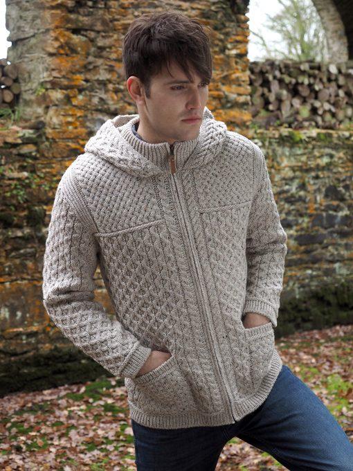 Men's Hooded Aran Full Zip Oatmeal Sweater