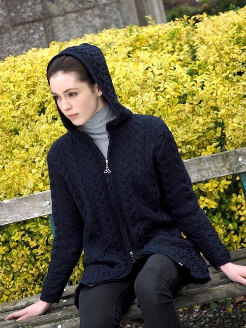 Ladies Hooded Aran Coat With Celtic Knot Zipper
