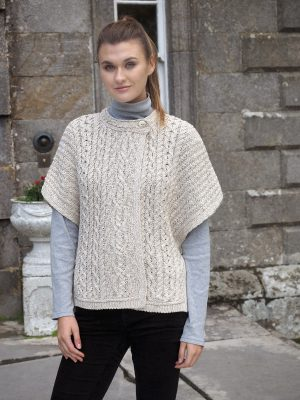 Aran Linen Beige Cotton Cape