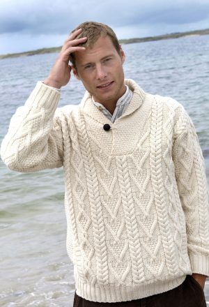 Aran Shawl Collar Mans Sweater