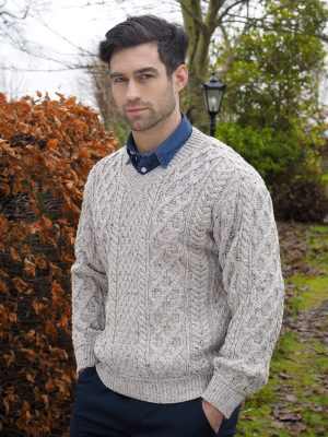 Oatmeal Aran Knit V Neck Sweater