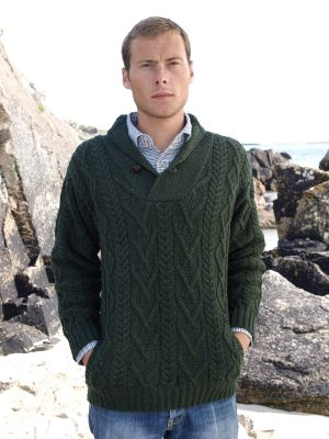 Aran Collar Mans Green Sweater