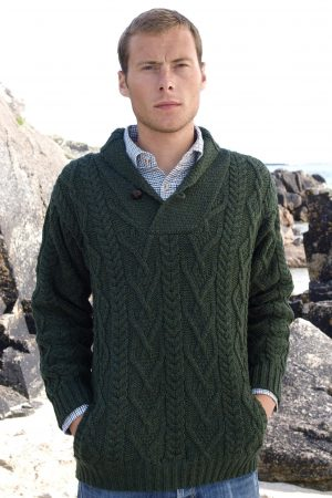 Aran Collar Mans Green Sweater