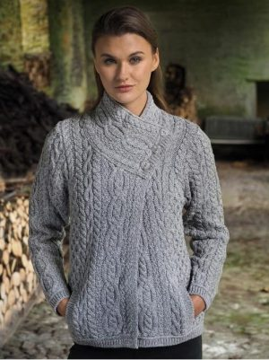 Women's Soft Gray Aran Three Button Cardigan