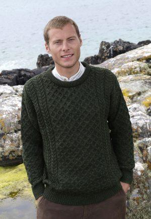 Green Traditional Irish Crew Neck Aran Sweater