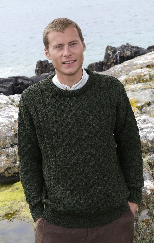 8244c7e4 Green Traditional Irish Crew Neck Aran Sweater- Aran Crafts