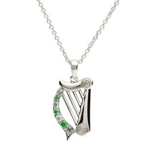 Shanore Sterling Silver Harp Necklace