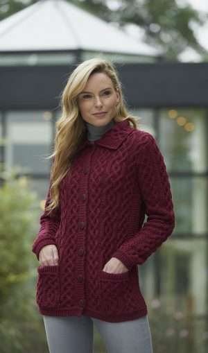 Ladies Fushia Aran Buttoned Collar Cardigan