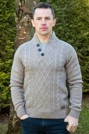 Men's Brown Burren Aran Sweater