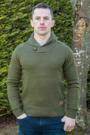 Men's Green Westport Aran Sweater