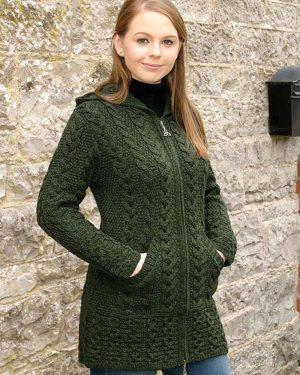 Ladies Hooded Green Aran Coat Celtic Knot Zipper