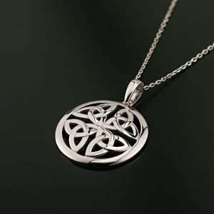 Solvar Sterling Silver Trinity Knot Circle Pendant s46471