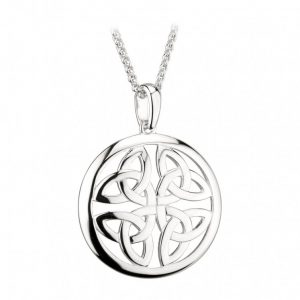 Solvar Sterling Silver Trinity Knot Circle Pendant
