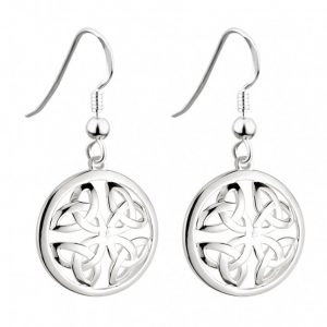 Solvar Sterling Silver Trinity Knot Circle Earrings