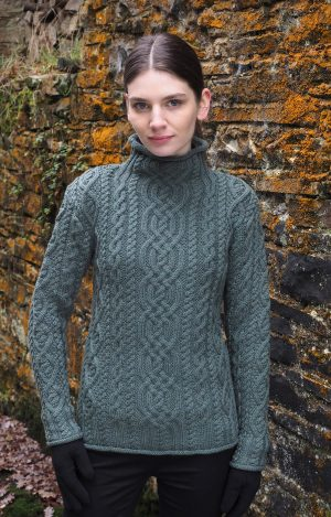 Aran Green Super Soft Merino Funnel Neck Sweater