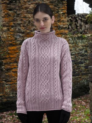 Aran Pink Super Soft Merino Funnel Neck Sweater
