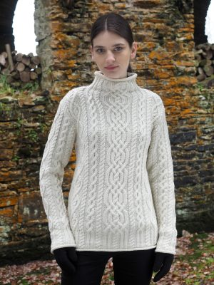 Aran Super Soft Merino Funnel Neck Sweater