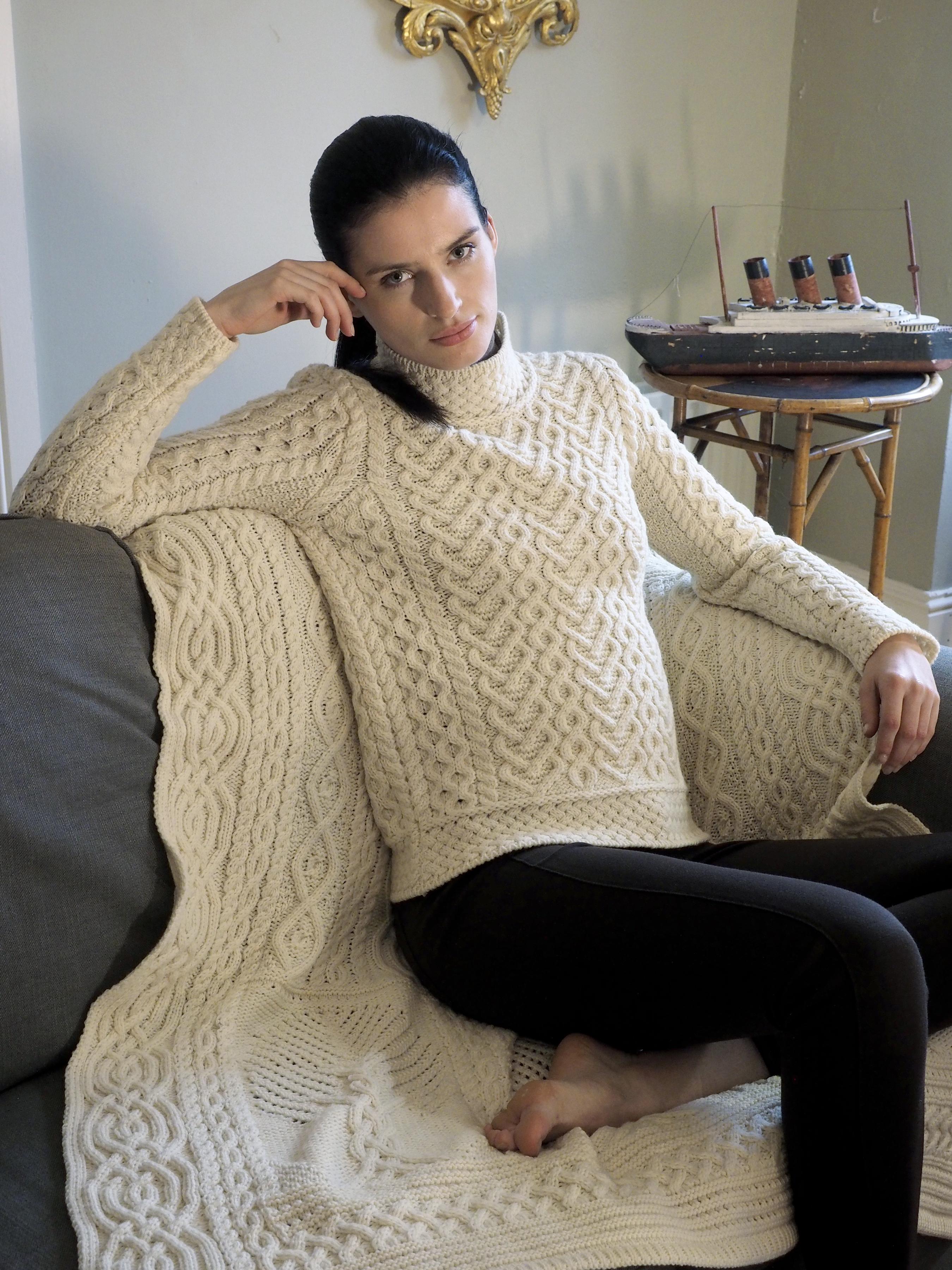 Aran Heart Knit Sweater By Aran Crafts Ireland Skellig Gift Store