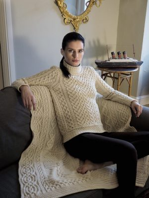 High Neck Cable Knit Aran Sweater
