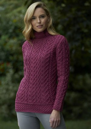 High Neck Magenta Cable Knit Aran Sweater