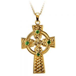 Boru Traditional Emerald Celtic Knot Cross