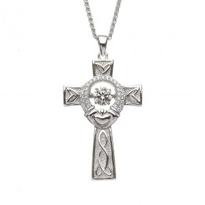 Boru Silver Cross Dancing Stone Claddagh
