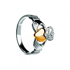 Gents 10k Gold Heart Heavy Claddagh Ring