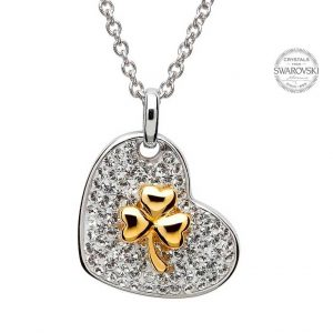 Gold Plated Shamrock Necklace Encrusted With Swarovski Crystals