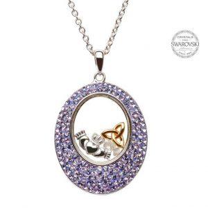 Claddagh Trinity Necklace Encrusted With Swarovski Crystals