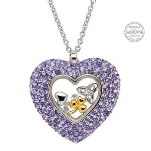 Trinity Heart Necklace Encrusted With Swarovski Crystals