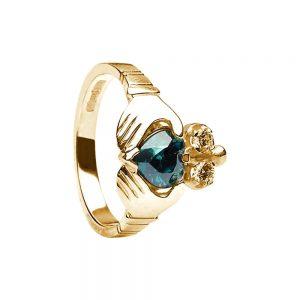 Boru Ladies Green Heart Claddagh Ring