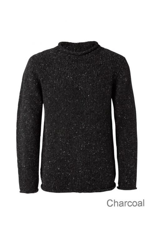 Pure Wool Charcoal Fisherman Sweater