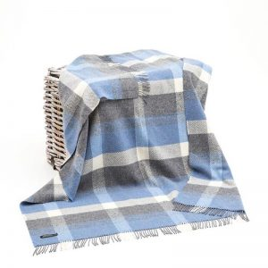 Grey Blue Merino Cashmere Wool Throw Blanket John Hanly